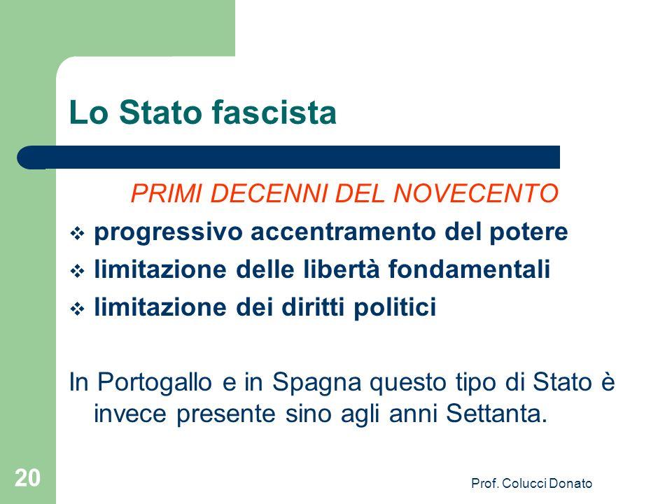 Lo Stato fascista PRIMI DECENNI DEL NOVECENTO progressivo accentramento del potere limitazione delle libertà fondamentali limitazione dei diritti politici In Portogallo e in Spagna questo tipo di Stato è invece presente sino agli anni Settanta.