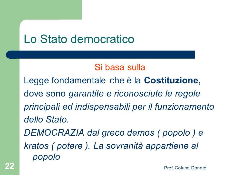 Lo Stato democratico Si basa sulla Legge fondamentale che è la Costituzione, dove sono garantite e riconosciute le regole principali ed indispensabili per il funzionamento dello Stato.
