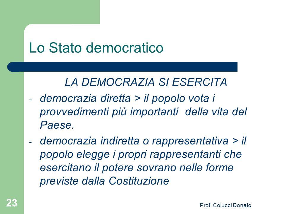Lo Stato democratico LA DEMOCRAZIA SI ESERCITA - democrazia diretta > il popolo vota i provvedimenti più importanti della vita del Paese.