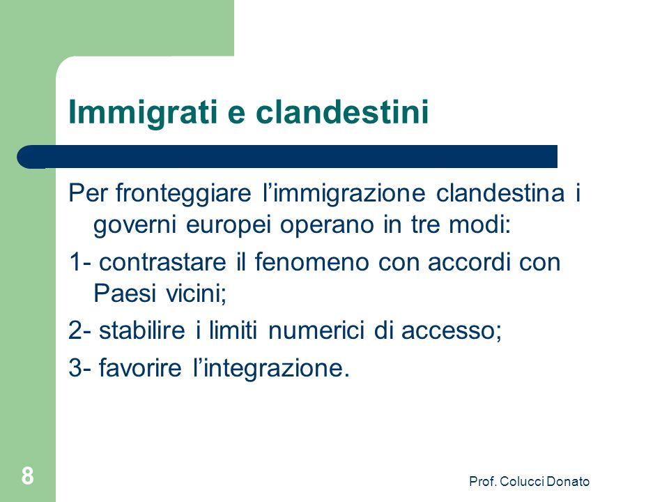 Immigrati e clandestini Per fronteggiare limmigrazione clandestina i governi europei operano in tre modi: 1- contrastare il fenomeno con accordi con Paesi vicini; 2- stabilire i limiti numerici di accesso; 3- favorire lintegrazione.