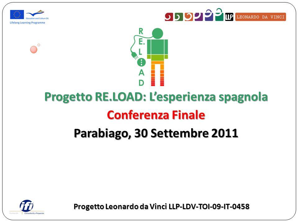 Progetto RE.LOAD: Lesperienza spagnola Conferenza Finale Parabiago, 30 Settembre 2011 Progetto Leonardo da Vinci LLP-LDV-TOI-09-IT-0458