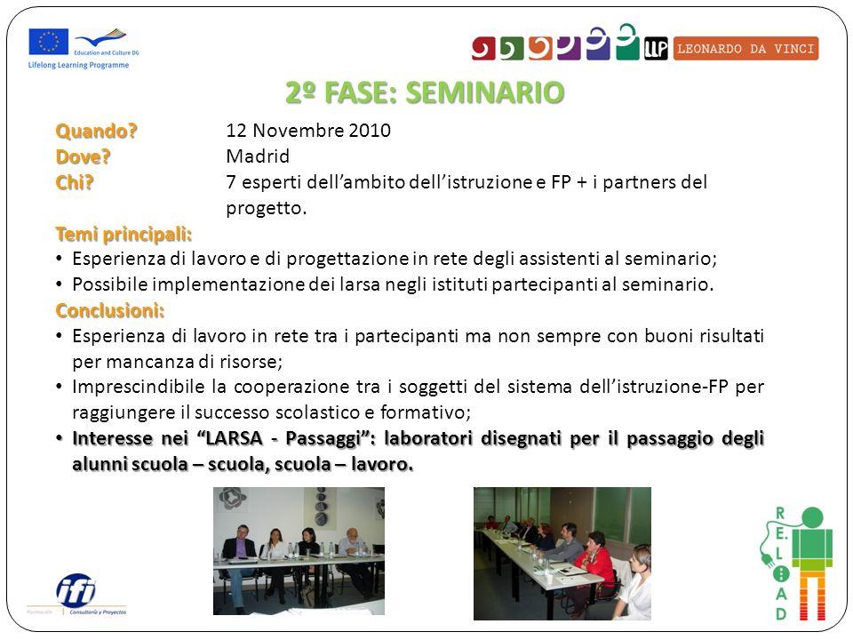 Quando? Quando? 12 Novembre 2010 Dove? Dove?Madrid Chi? Chi? 7 esperti dellambito dellistruzione e FP + i partners del progetto. Temi principali: Espe