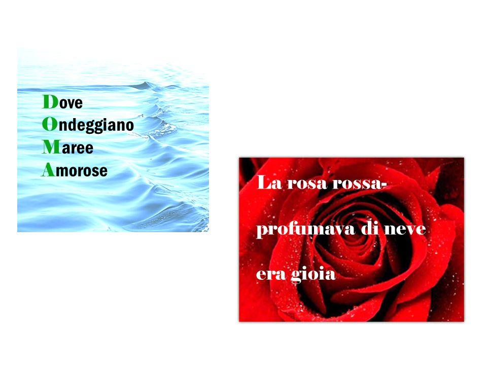 D ove O ndeggiano M aree A morose La rosa rossa- Profumava di neve Ed era gioia La rosa rossa- profumava di neve era gioia
