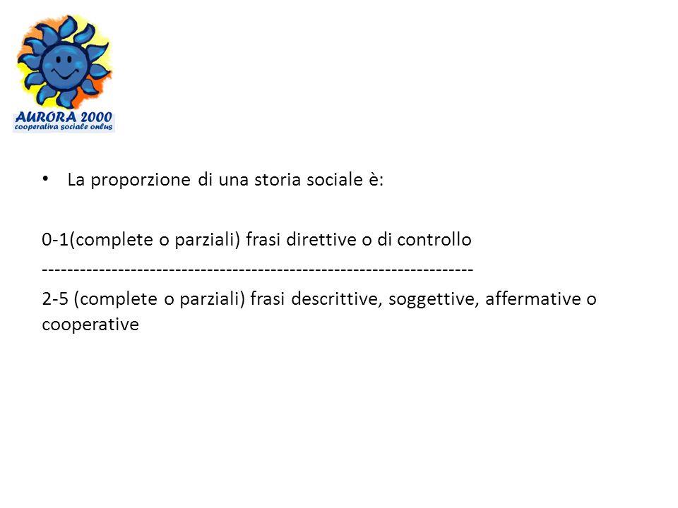 La proporzione di una storia sociale è: 0-1(complete o parziali) frasi direttive o di controllo -------------------------------------------------------------------- 2-5 (complete o parziali) frasi descrittive, soggettive, affermative o cooperative