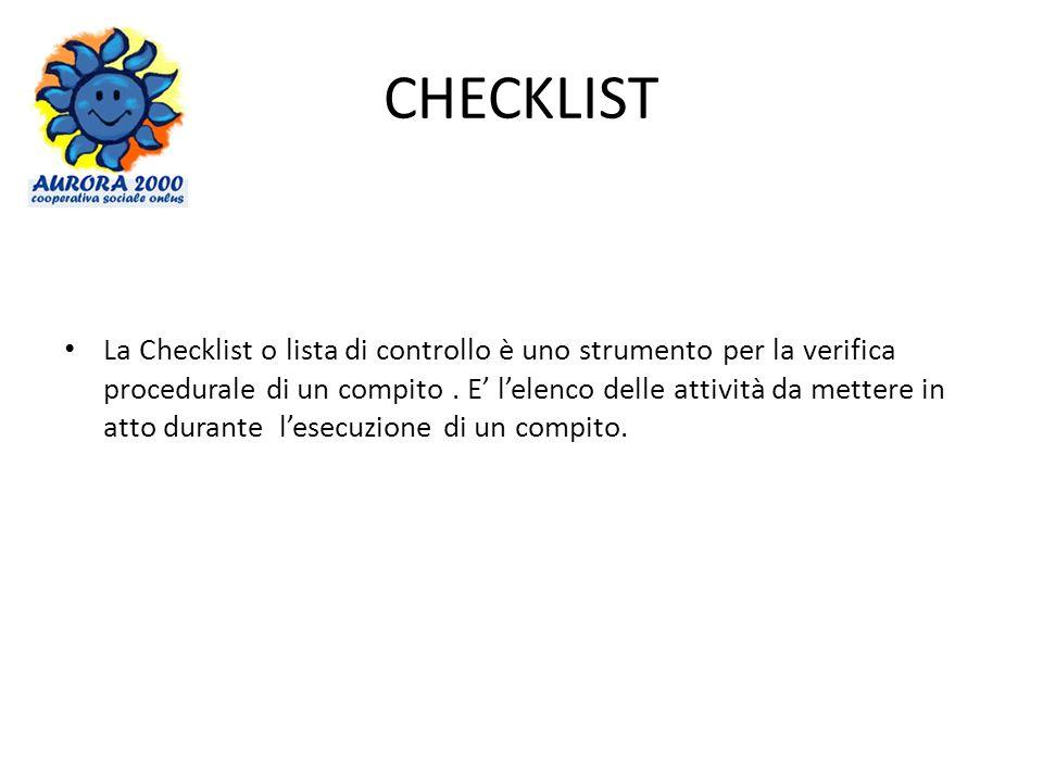 CHECKLIST La Checklist o lista di controllo è uno strumento per la verifica procedurale di un compito. E lelenco delle attività da mettere in atto dur