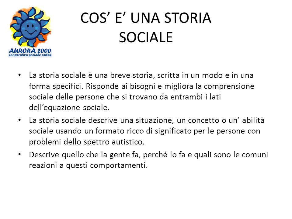 COS E UNA STORIA SOCIALE La storia sociale è una breve storia, scritta in un modo e in una forma specifici. Risponde ai bisogni e migliora la comprens