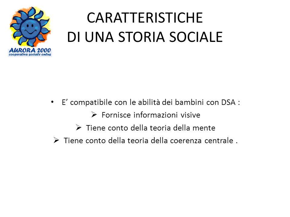 CARATTERISTICHE DI UNA STORIA SOCIALE E compatibile con le abilità dei bambini con DSA : Fornisce informazioni visive Tiene conto della teoria della mente Tiene conto della teoria della coerenza centrale.