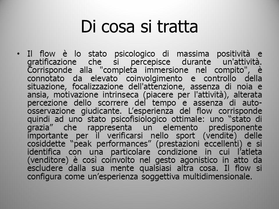 Di cosa si tratta Il flow è lo stato psicologico di massima positività e gratificazione che si percepisce durante un'attività. Corrisponde alla