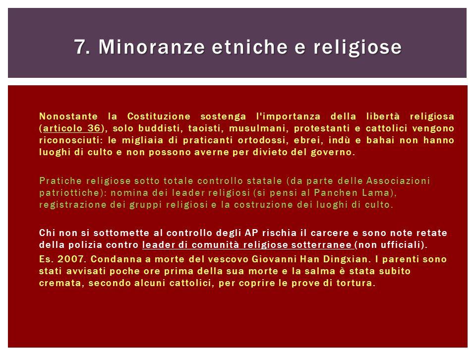 Nonostante la Costituzione sostenga l'importanza della libertà religiosa (articolo 36), solo buddisti, taoisti, musulmani, protestanti e cattolici ven