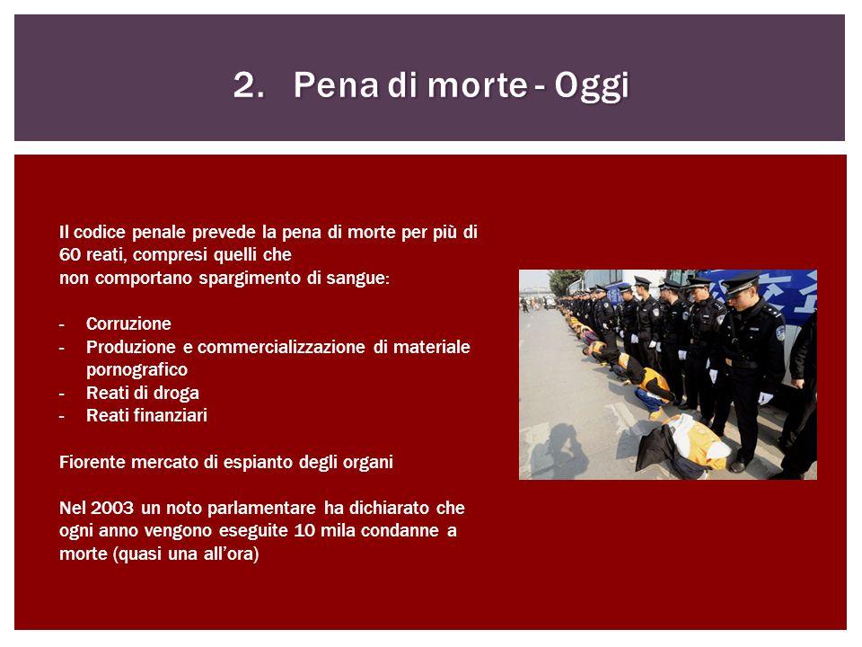 Il codice penale prevede la pena di morte per più di 60 reati, compresi quelli che non comportano spargimento di sangue: -Corruzione -Produzione e com