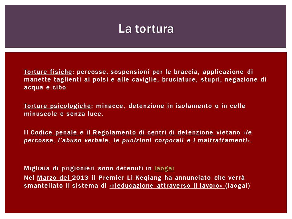 Torture fisiche: percosse, sospensioni per le braccia, applicazione di manette taglienti ai polsi e alle caviglie, bruciature, stupri, negazione di ac