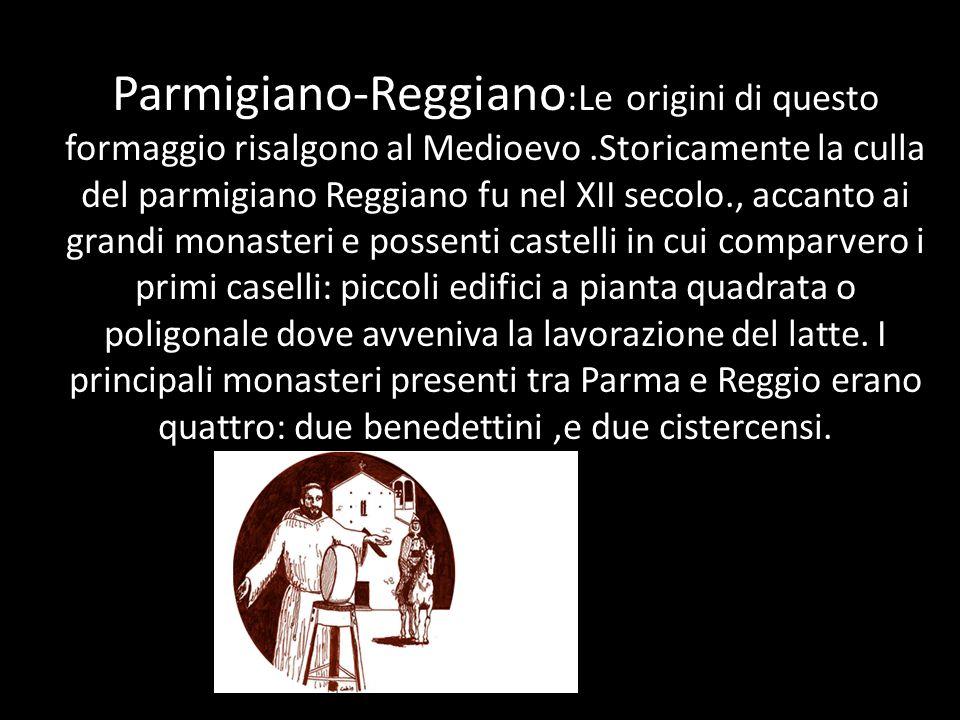 Parmigiano-Reggiano :Le origini di questo formaggio risalgono al Medioevo.Storicamente la culla del parmigiano Reggiano fu nel XII secolo., accanto ai