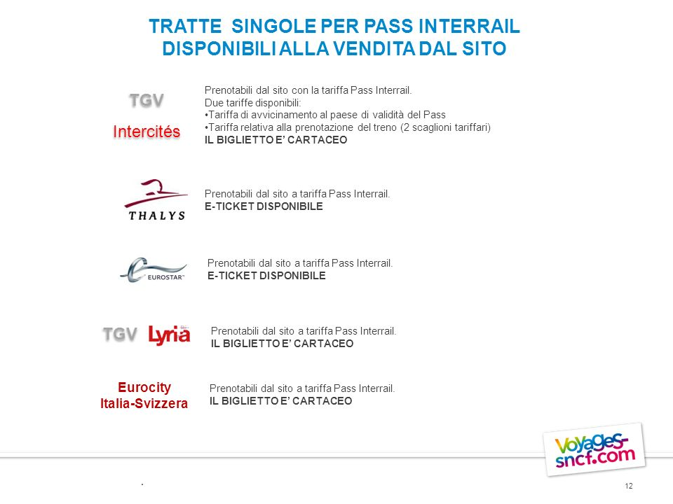TRATTE SINGOLE PER PASS INTERRAIL DISPONIBILI ALLA VENDITA DAL SITO 12 Prenotabili dal sito con la tariffa Pass Interrail. Due tariffe disponibili: Ta