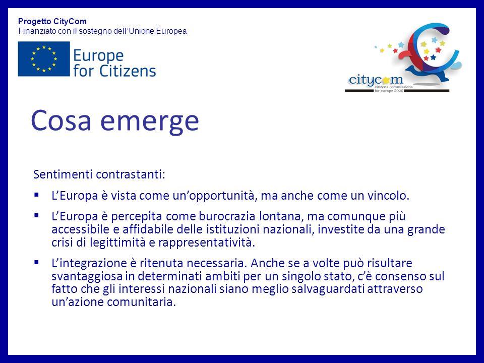 Progetto CityCom Finanziato con il sostegno dellUnione Europea Sentimenti contrastanti: LEuropa è vista come unopportunità, ma anche come un vincolo.