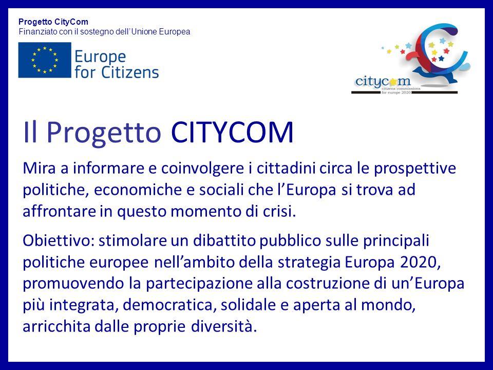 Il Progetto CITYCOM Progetto CityCom Finanziato con il sostegno dellUnione Europea Mira a informare e coinvolgere i cittadini circa le prospettive politiche, economiche e sociali che lEuropa si trova ad affrontare in questo momento di crisi.