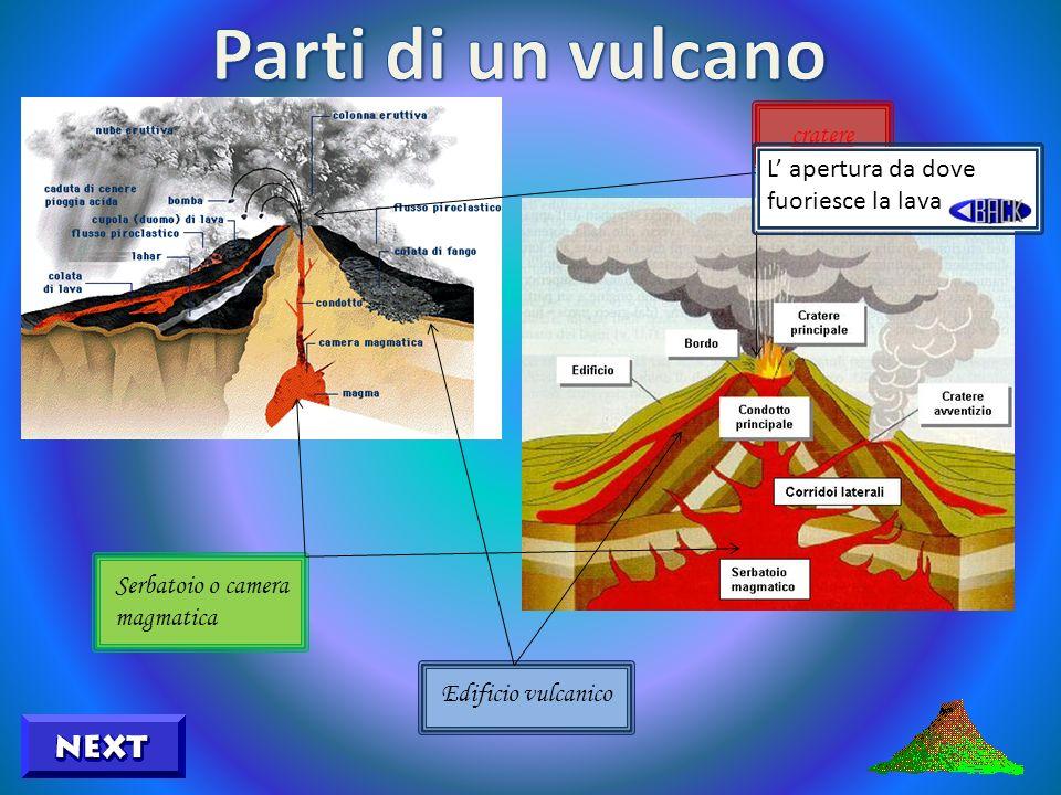Serbatoio o camera magmatica Edificio vulcanico cratere La parte visibile formata dalla sovrapposizione della lava