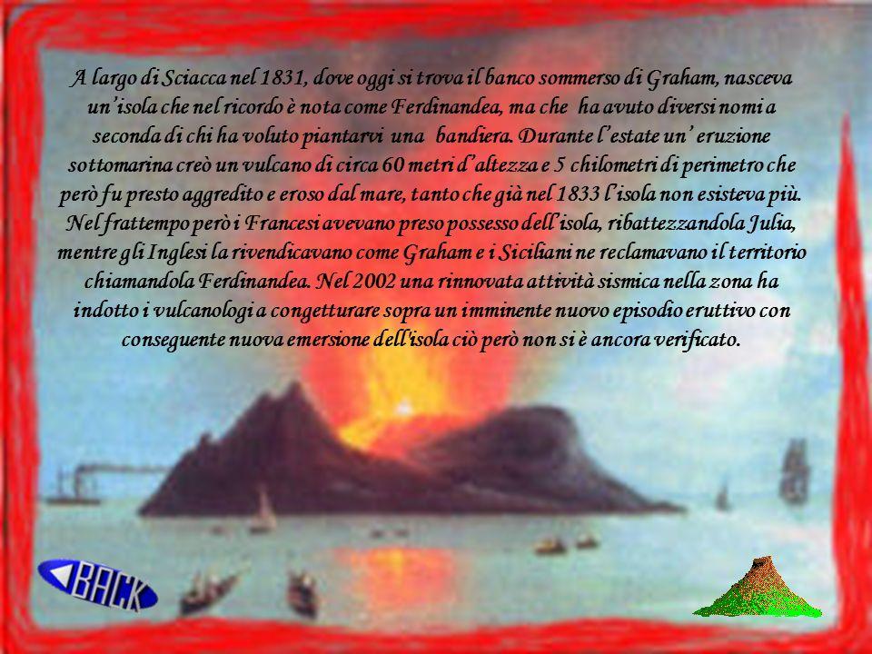 28 giugno 1831 4800 metri di circonferenza e 63 metri di altezza massima A metà strada tra la Sicilia e lisola di Pantelleria