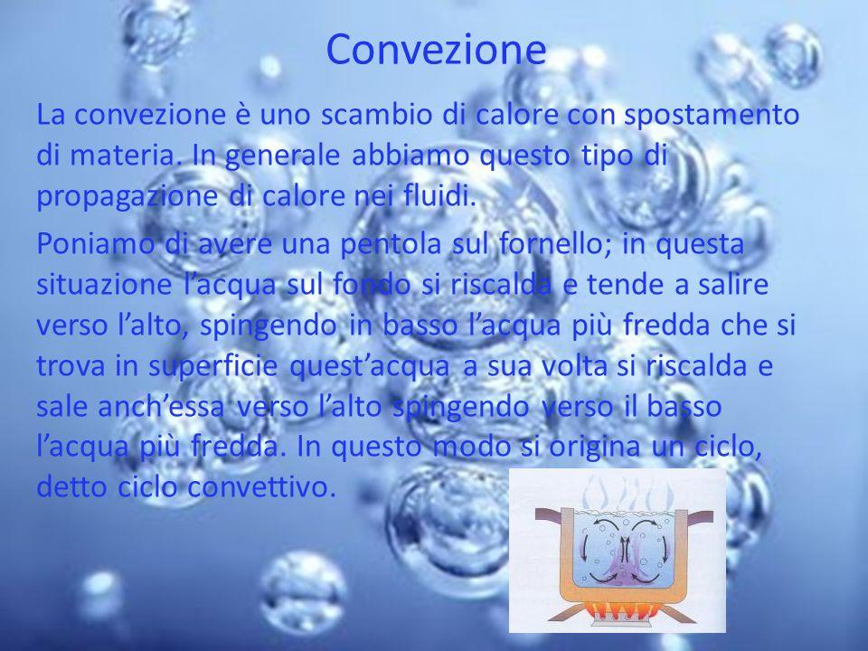 Convezione La convezione è uno scambio di calore con spostamento di materia. In generale abbiamo questo tipo di propagazione di calore nei fluidi. Pon