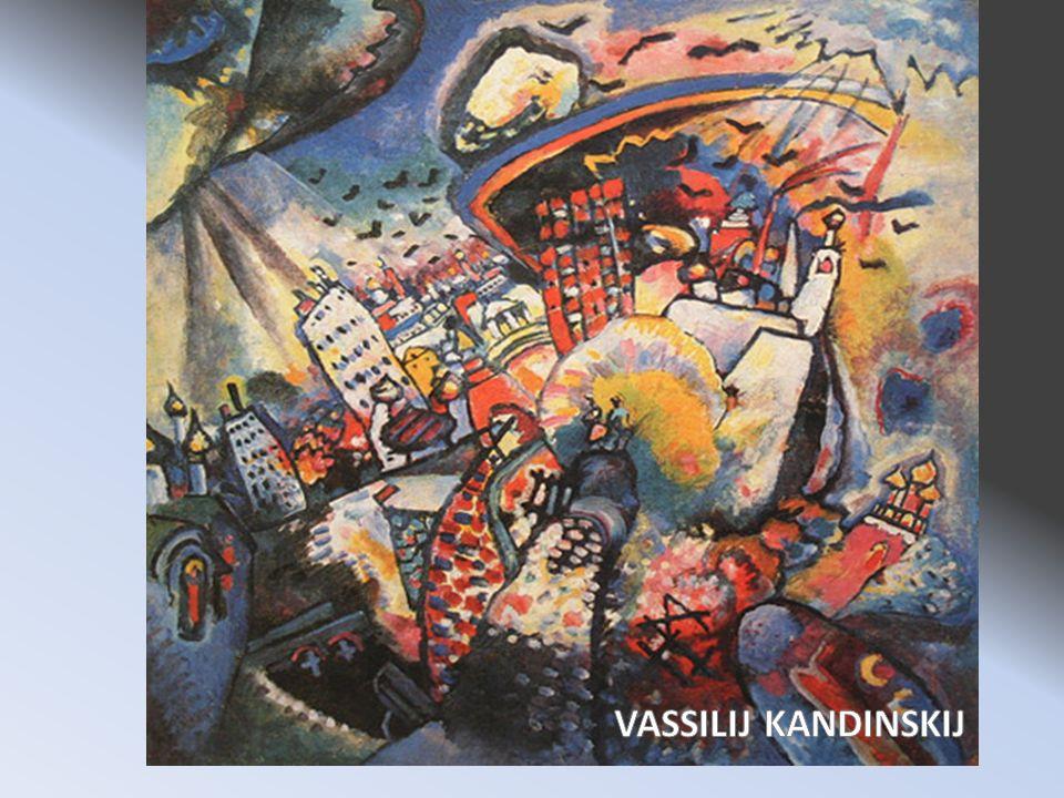 Autore: Vassilij Kandiskij Titolo: Mosca I Luogo di conservazione: Galleria Tretjacov, Mosca Periodo di appartenenza: 1916 In questopera Kandiskij ha voluto rappresentare la sua città, Mosca, non come era realmente ma come lui la vedeva.