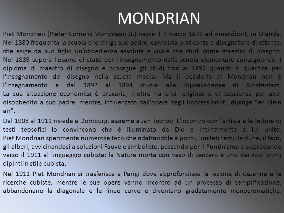 MONDRIAN Piet Mondrian (Pieter Cornelis Mondriaan Jr.) nasce il 7 marzo 1872 ad Amersfoort, in Olanda.