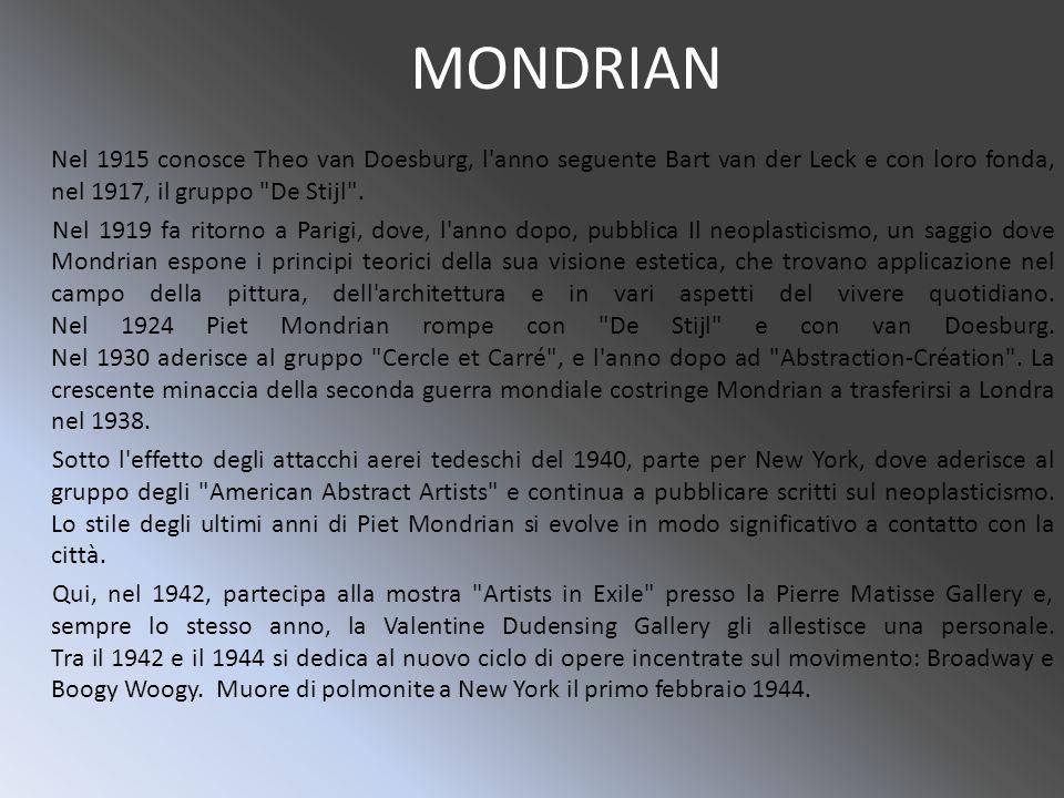 MONDRIAN Nel 1915 conosce Theo van Doesburg, l anno seguente Bart van der Leck e con loro fonda, nel 1917, il gruppo De Stijl .