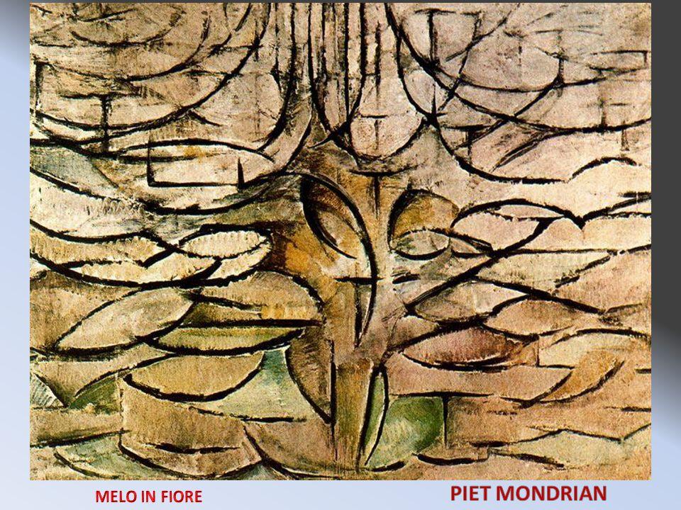 Autore: Piet Mondrian Luogo di conservazione: LAia Gemeentemuseum Periodo di appartenenza: 1912 Titolo dellopera: Melo in fiore Nel Melo in fiore, infine, dominano solo le linee, anche se il loro andamento deriva da quello dei rami dei due alberi precedenti.