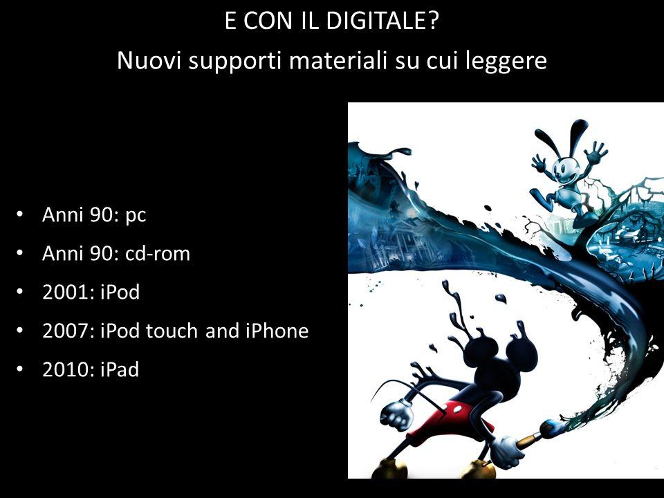 Anni 90: pc Anni 90: cd-rom 2001: iPod 2007: iPod touch and iPhone 2010: iPad Nuovi supporti materiali su cui leggere E CON IL DIGITALE?