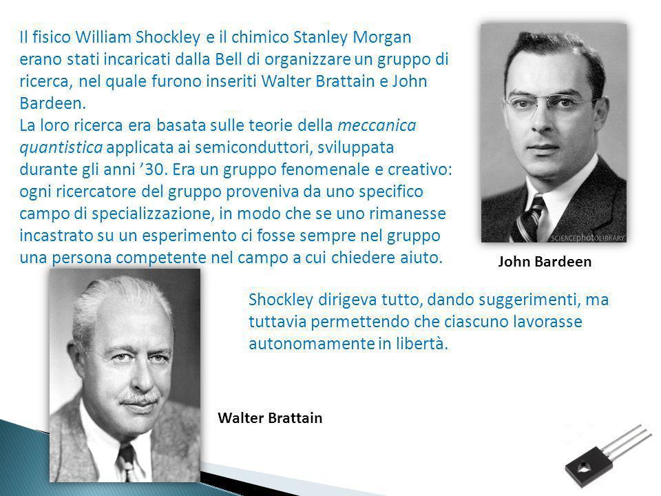 Il fisico William Shockley e il chimico Stanley Morgan erano stati incaricati dalla Bell di organizzare un gruppo di ricerca, nel quale furono inserit