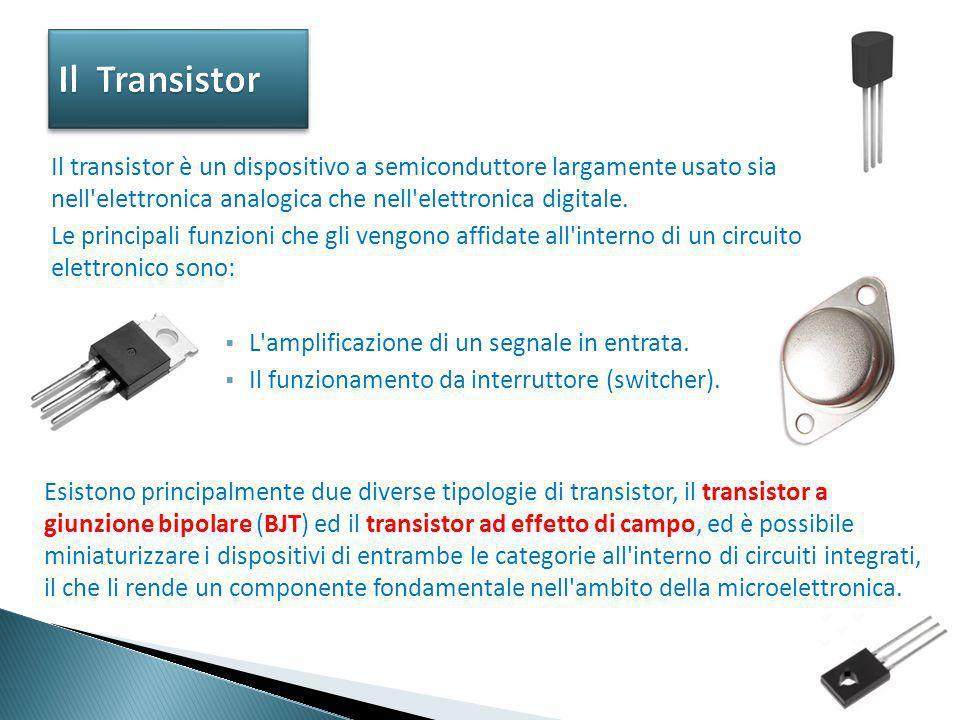 Esistono principalmente due diverse tipologie di transistor, il transistor a giunzione bipolare (BJT) ed il transistor ad effetto di campo, ed è possi
