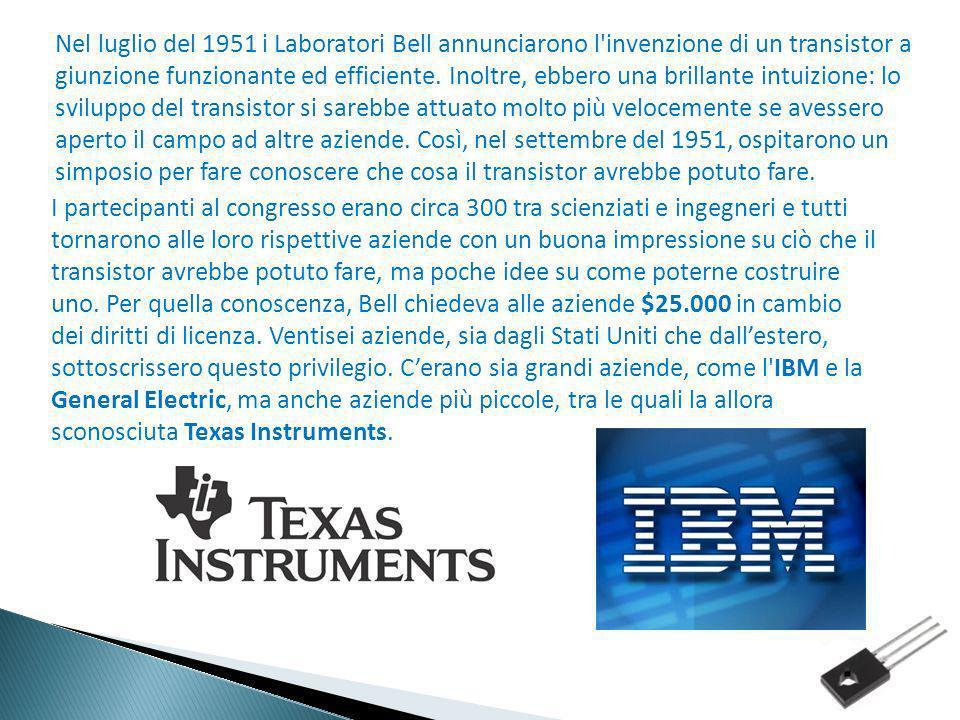 Nel luglio del 1951 i Laboratori Bell annunciarono l'invenzione di un transistor a giunzione funzionante ed efficiente. Inoltre, ebbero una brillante
