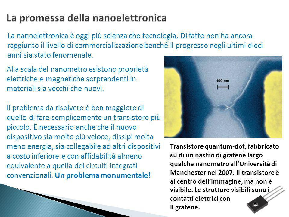 La nanoelettronica è oggi più scienza che tecnologia. Di fatto non ha ancora raggiunto il livello di commercializzazione benché il progresso negli ult