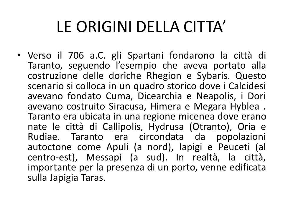 LE ORIGINI DELLA CITTA Verso il 706 a.C. gli Spartani fondarono la città di Taranto, seguendo lesempio che aveva portato alla costruzione delle dorich