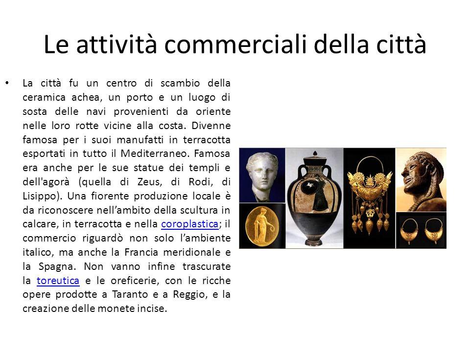 Le attività commerciali della città La città fu un centro di scambio della ceramica achea, un porto e un luogo di sosta delle navi provenienti da orie