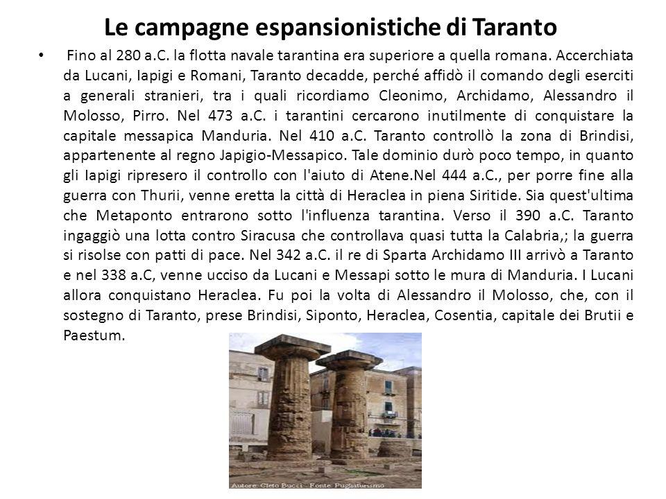 Le campagne espansionistiche di Taranto Fino al 280 a.C. la flotta navale tarantina era superiore a quella romana. Accerchiata da Lucani, Iapigi e Rom