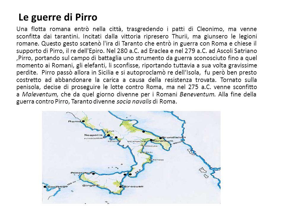 Le guerre di Pirro Una flotta romana entrò nella città, trasgredendo i patti di Cleonimo, ma venne sconfitta dai tarantini. Incitati dalla vittoria ri