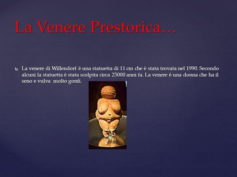 La venere di Willendorf è una statuetta di 11 cm che è stata trovata nel 1990. Secondo alcuni la statuetta è stata scolpita circa 25000 anni fa. La ve
