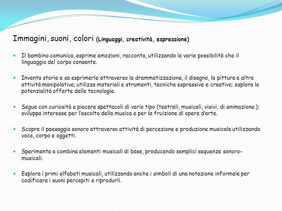 Immagini, suoni, colori (Linguaggi, creatività, espressione) Il bambino comunica, esprime emozioni, racconta, utilizzando le varie possibilità che il