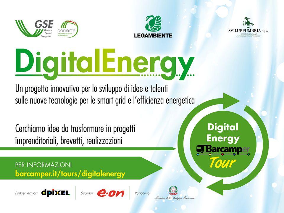 DIGITAL ENERGY: Un progetto innovativo per il paese Lo scenario energetico futuro sarà fatto di impianti da fonti rinnovabili e efficienti distribuiti nelle città e nel territorio.