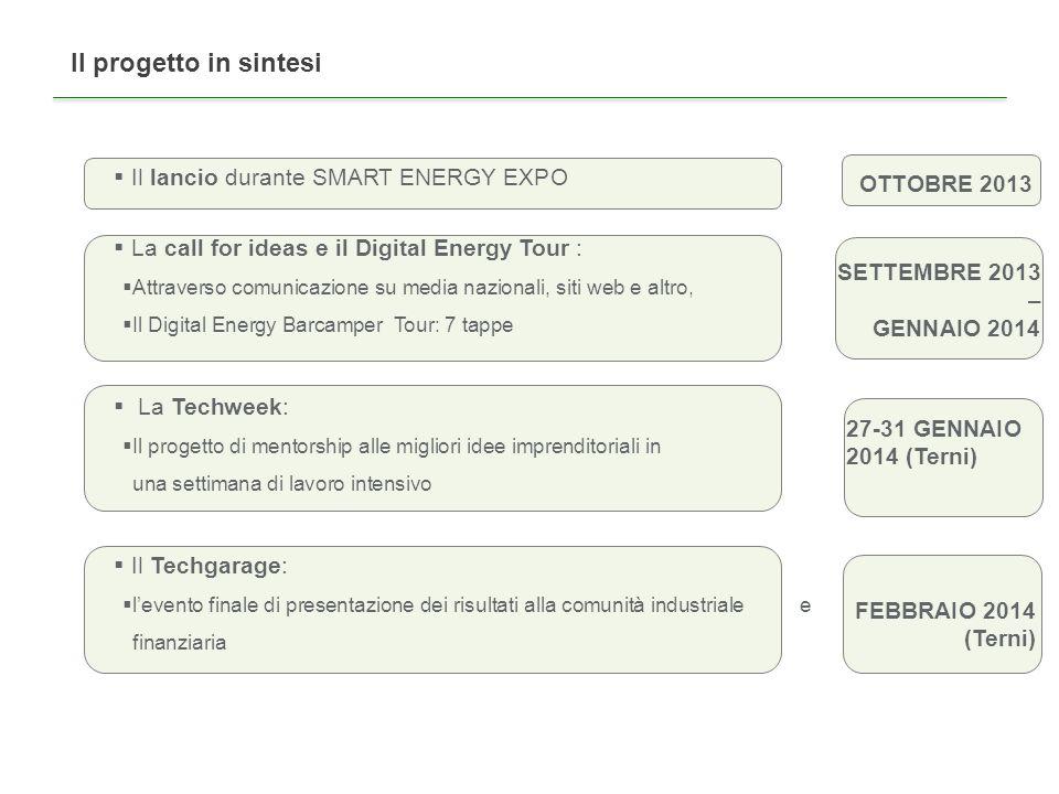 Il Digital Energy Barcamper Tour: 8 tappe (da confermare location) 1.9-11 ottobre, Verona (Smart Energy Expo) 2.14 ottobre, Perugia (Università di Perugia) Tbc 3.15 ottobre, Terni (Sviluppumbria) Tbc 4.16 ottobre, Roma (Università Roma ) Tbc 5.17 ottobre, Napoli (Città della Scienza) 6.18 ottobre, Catania (Università di Catania) Tbc 7.21 ottobre, Bologna (Università di Bologna)Tbc 8.23-25 ottobre, Milano (SMAU)