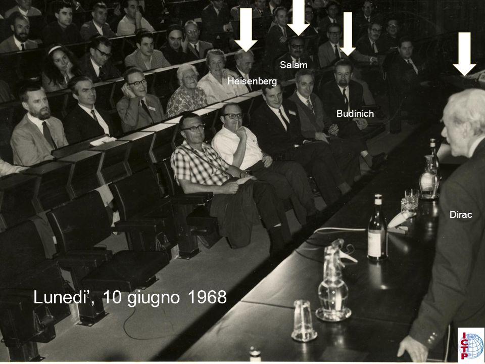 Lunedi, 10 giugno 1968 Salam Budinich Dirac Heisenberg
