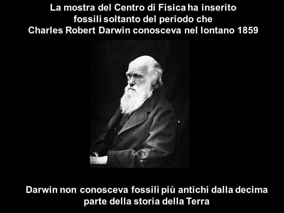 La mostra del Centro di Fisica ha inserito fossili soltanto del periodo che Charles Robert Darwin conosceva nel lontano 1859 Darwin non conosceva fossili più antichi dalla decima parte della storia della Terra