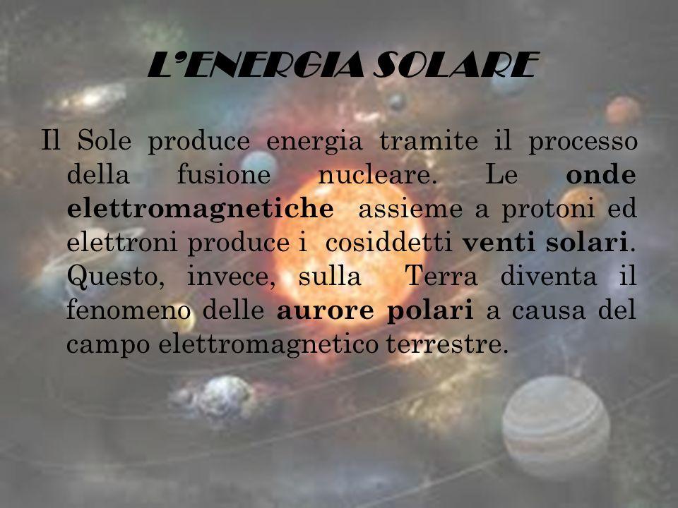 LENERGIA SOLARE Il Sole produce energia tramite il processo della fusione nucleare. Le onde elettromagnetiche assieme a protoni ed elettroni produce i