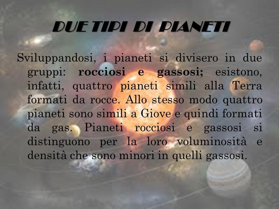 DUE TIPI DI PIANETI Sviluppandosi, i pianeti si divisero in due gruppi: rocciosi e gassosi; esistono, infatti, quattro pianeti simili alla Terra forma
