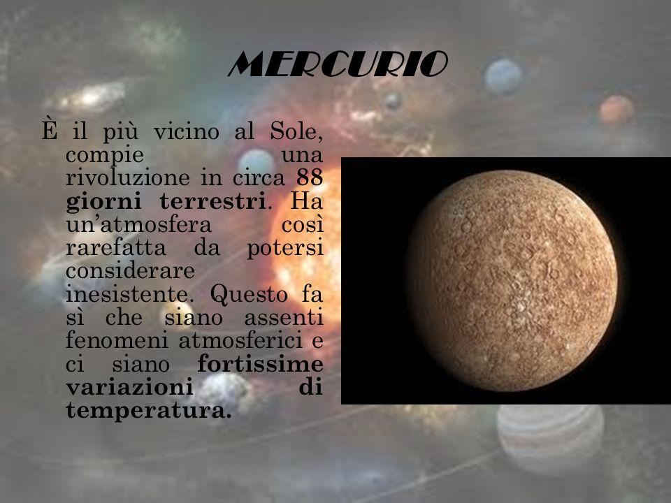MERCURIO È il più vicino al Sole, compie una rivoluzione in circa 88 giorni terrestri. Ha unatmosfera così rarefatta da potersi considerare inesistent