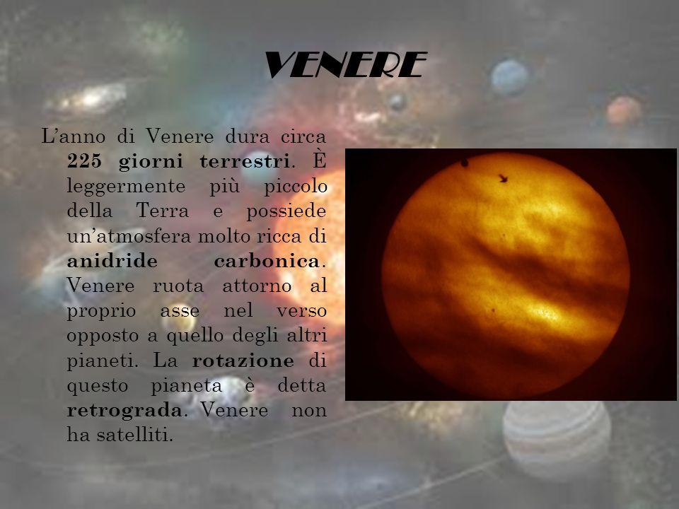 VENERE Lanno di Venere dura circa 225 giorni terrestri. È leggermente più piccolo della Terra e possiede unatmosfera molto ricca di anidride carbonica