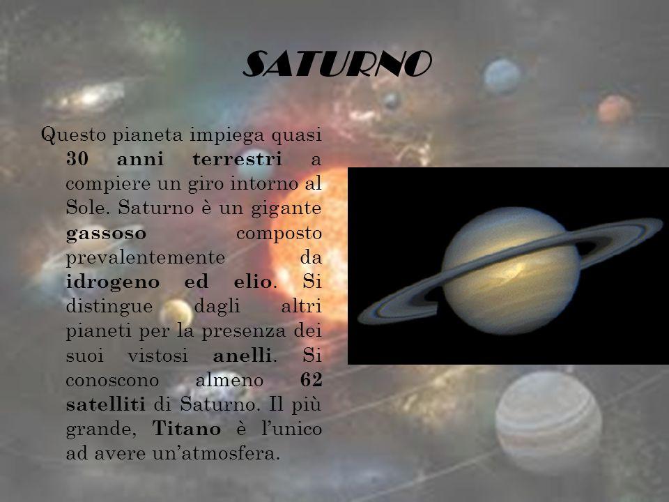 SATURNO Questo pianeta impiega quasi 30 anni terrestri a compiere un giro intorno al Sole. Saturno è un gigante gassoso composto prevalentemente da id