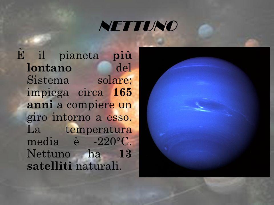 NETTUNO È il pianeta più lontano del Sistema solare; impiega circa 165 anni a compiere un giro intorno a esso. La temperatura media è -220°C. Nettuno