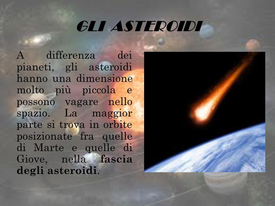 GLI ASTEROIDI A differenza dei pianeti, gli asteroidi hanno una dimensione molto più piccola e possono vagare nello spazio. La maggior parte si trova