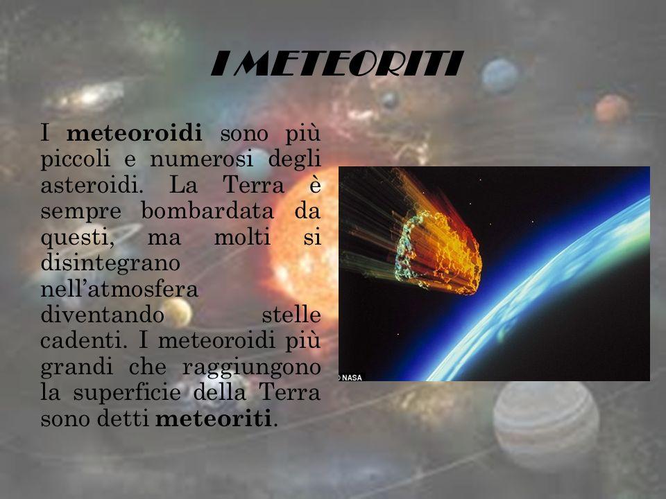 I METEORITI I meteoroidi sono più piccoli e numerosi degli asteroidi. La Terra è sempre bombardata da questi, ma molti si disintegrano nellatmosfera d