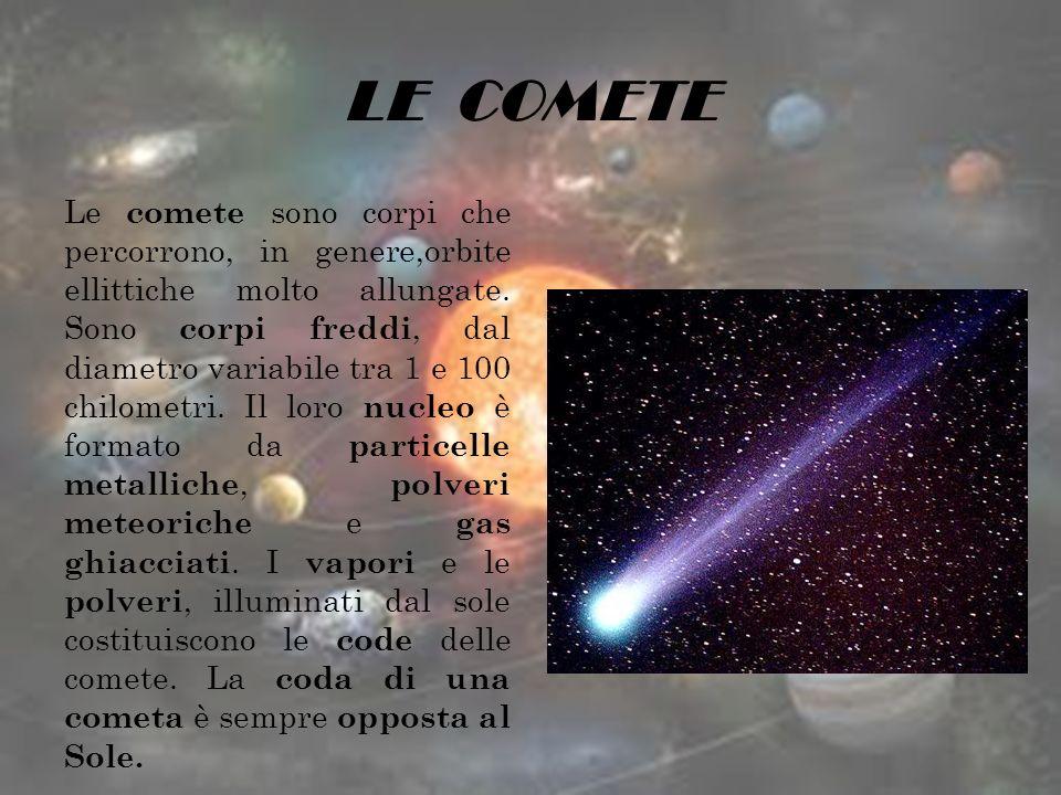 LE COMETE Le comete sono corpi che percorrono, in genere,orbite ellittiche molto allungate. Sono corpi freddi, dal diametro variabile tra 1 e 100 chil